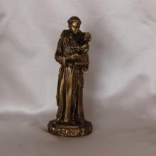 SP 010 OTT cm 15,5 h - S. Antonio da Padova in marmorina finitura ottone bronzato