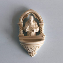 SP 096 cm 7x12 - Acquasantiera San Pio in marmorina