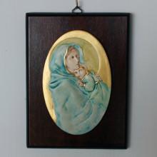 SP 084 cm 15x20 - Ovale di Madonna con Bambino in marmorina decorato a mano su pannello in legno