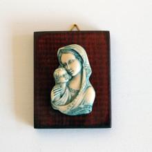 SP 077 cm 6x7 - Madonna con Bambino in marmorina decorata a mano su pannello in legno