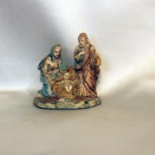 SP 060 cm 5x5,5 - Sacra Famiglia in marmorina decorata a mano
