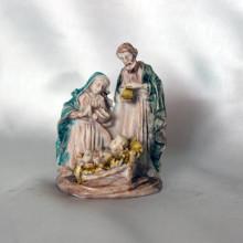 SP 059 cm 4x5,5 - Sacra Famiglia in marmorina decorata a mano