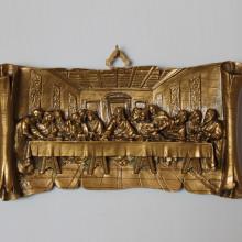 SP 106 cm 14x25 - Pergamena Ultima Cena in marmorina decorata con porporina oro