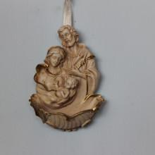 SP 073 cm 7x10 - Acquasantiera Sacra Famiglia in marmorina decorata a mano