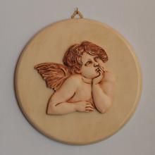 SP119 diam. cm 26,5 - Angelo Raffaello in marmorina decorata a mano su pannello laccato
