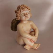 SP 109 cm 6x7 - Angelo in marmorina decorata a mano