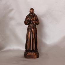 SP 015 cm 15 h - San Pio in marmorina finitura rame bronzato