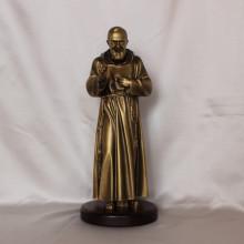 SP 013 cm 30 h - San Pio in marmorina finitura ottone bronzato