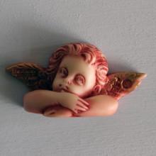 SP 046/2 cm 3x6,5 - Angelo Raffaello in marmorina decorato a mano