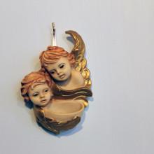 SP 101 cm 8x13 -Acquasantiera angeli in marmorina decorata a mano