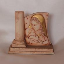SP 035 cm 9x9 - Madonna con bambino in marmorina decorata a mano