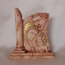 SP 033 cm 11,5x13 -Sacra Famiglia in marmorina decorata a mano