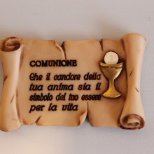 SP 038 cm 7,5x12 -Pergamena Comunione in marmorina decorata a mano