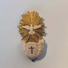 SP 040 cm 13 h - Acquasantiera colomba in marmorina con particolari a porporina oro