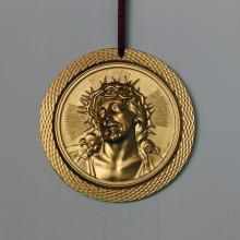 SP 058 diam. cm 7,5 -Medaglione Gesù in marmorina decorata con porporina oro