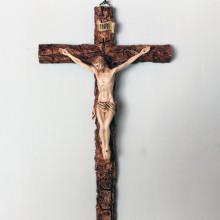 SP 049 cm 18x30 - Crocifisso in marmorina decorato a mano