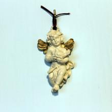 SP 062/1 cm 5x8,5 - Angioletto colomba in marmorina con particolari in porporina oro