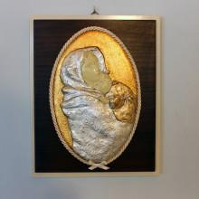 SP 093 cm 25x31 - Quadro di Madonna con Bambino in marmorina decorata a Foglia oro e foglia argento