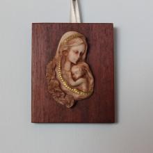 SP 067 cm 5x7 - Madonna con Bambino in marmorina decorata a mano su pannello legno