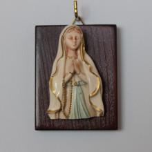 SP 066 cm 5x7 - Altorilievo Madonna di Lourdes in marmorina decorata a mano su pannello legno
