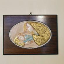 SP 094 cm 26x35 - Quadro Madonna con Bambino in marmorina decorata a mano su pannello in legno