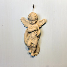 SP 004/1 cm 9x15 - Angelo con tromba in marmorina