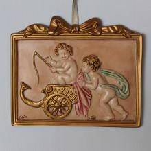 SP 074 cm 18x21 -Quadretto coppia di Angeli in marmorina decorata a mano