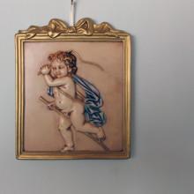 SP 075 cm 14x17 - Quadretto Angelo in marmorina decorato a mano