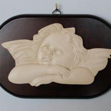 SP 078 cm 14,5x23,5 - Angelo Raffaello in marmorina su pannello di legno