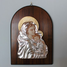 SP 091 cm 23x32 - Quadro  Madonna con Bambino in marmorina decorata con foglia oro e foglia argento