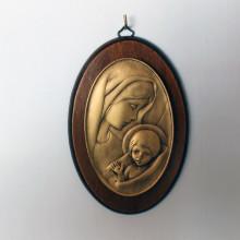 SP 085 cm 11x17 - Ovale di Madonna con Bambino in marmorina finitura ottone bronzato su pannello legno