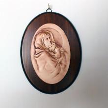 SP 086 cm 16x21 - Ovale di Madonna con Bambino in marmorina decorato a mano su pannello in legno