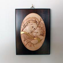 SP 087 cm 15x20 - Ovale di Madonna con Bambino in marmorina decorato a mano su pannello in legno