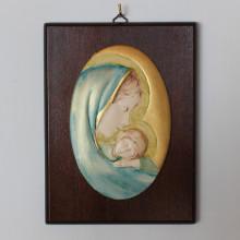 SP 082 cm 15x20 - Ovale di Madonna con Bambino in marmorina decorato a mano su pannello in legno