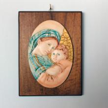 SP 088 cm 15x20 - Ovale di Madonna con Bambino in marmorina decorato a mano su pannello in legno