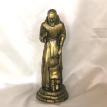 SP014 cm 25h - San Pio con bambino in marmorina finitura ottone bronzato