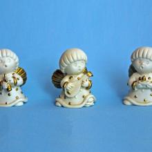 SP118 cm 3,5x5 - Angeli tondi in marmorina decorati con porporina oro