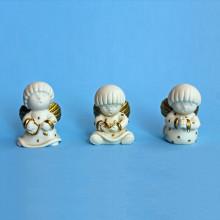 SP 118 cm 3,5x5 - Angeli tondi in marmorina decorati con porporina oro